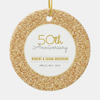50th Anniversary Keepsake Faux Gold Glitter Ceramic Ornament