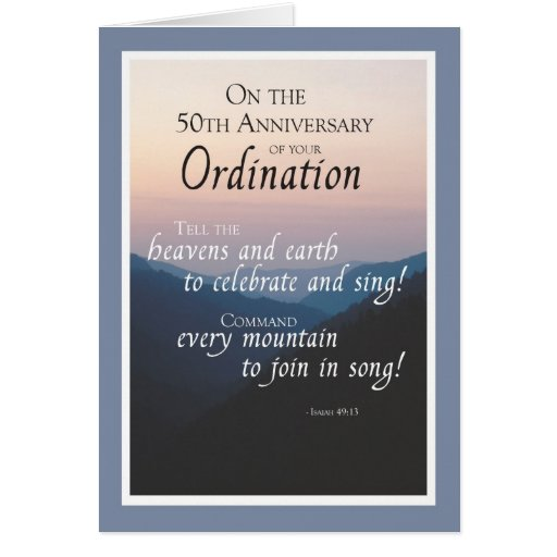 50th Anniversary of Ordination Congratulations Greeting Card