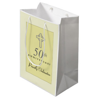 50th Anniversary of Priest with Embossed Cross Medium Gift Bag