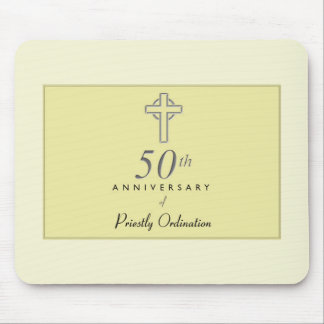 50th Anniversary of Priest with Embossed Cross Mouse Pad