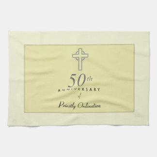 50th Anniversary of Priest with Embossed Cross Tea Towel