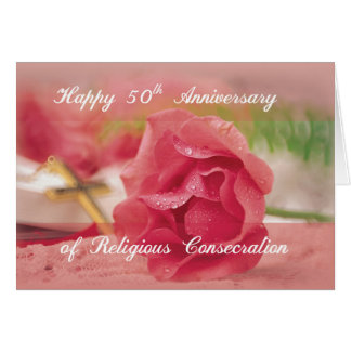 50th Anniversary of Religious Consecration Pink Ro Card