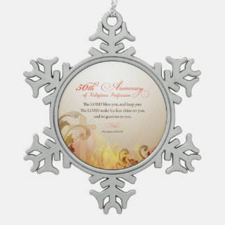 50th Anniversary of Religious Profession, Nun Snowflake Pewter Christmas Ornament