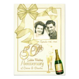 "50th Anniversary Party - Fancy Photo Invitations 5"" X 7"" Invitation Card"