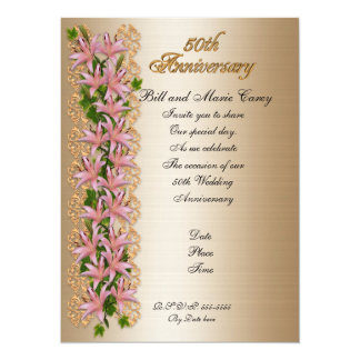 50th anniversary party invitation elegant floral