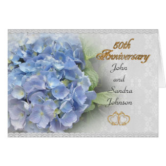 50th anniversary party invitation hydrangeas blue