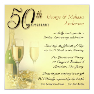 50th Anniversary Party Invitations - Contemporary