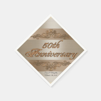 50th Anniversary Personalised cocktail napkins Paper Napkin