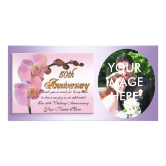 50th anniversary photo Thank you Pink Orchids Personalized Photo Card