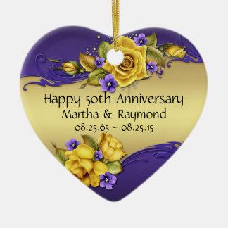 50th Anniversary Photo Yellow Roses Purple Pansies Ceramic Heart Decoration