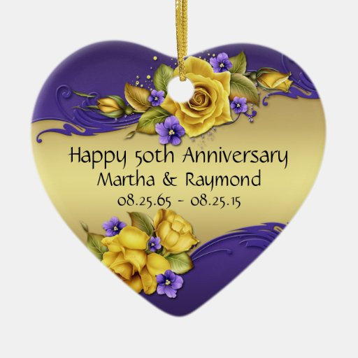 50th Anniversary Photo Yellow Roses Purple Pansies Christmas Tree Ornaments