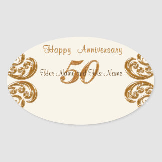 50th Anniversary Stickers, Hand Write Guest Names Oval Sticker