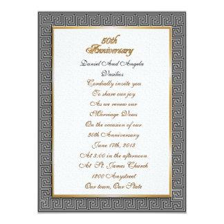 "50th Anniversary vow renewal Greek key Invitation 5.5"" X 7.5"" Invitation Card"