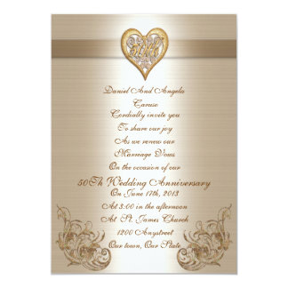 "50th Anniversary vow renewal Invitation 5"" X 7"" Invitation Card"