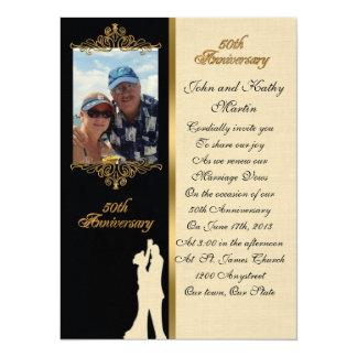 "50th Anniversary vow renewal Invitation elegant 5.5"" X 7.5"" Invitation Card"