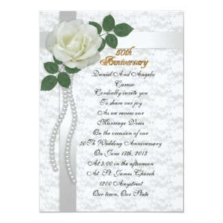 50th Anniversary vow renewal Invitation White rose
