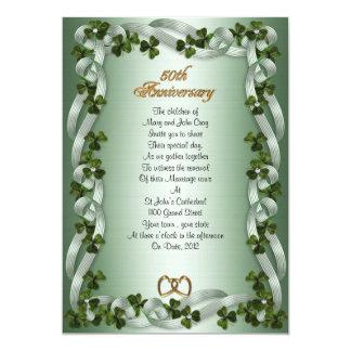 50th anniversary vow renewal Irish shamrocks Card