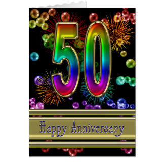 50th anniversary with fireworks and bubbles greeting card