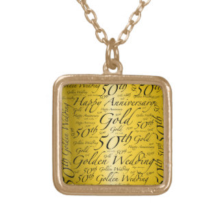 50th Anniversary Word Art Graphic Square Pendant Necklace