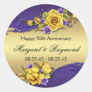 50th Anniversary Yellow Roses Purple Pansies Round Sticker