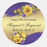 50th Anniversary Yellow Roses Purple Pansies Round Stickers