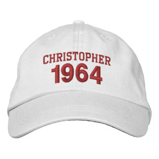 50th Birthday 1964 or Any Year WHITE and RED V02 Embroidered Hats