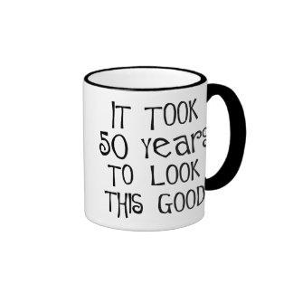 50th birthday, 50 years to look this good! ringer mug