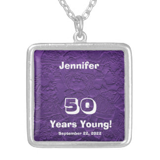 50th Birthday 50 Years Young Purple Dolls Necklace