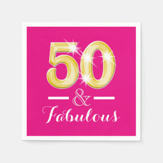 50th birthday and fabulous women disposable napkins