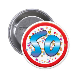 50th Birthday 6 Cm Round Badge