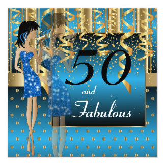50th Birthday Bash Girl Party | Blue & Gold Card