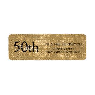 50th Birthday Black and Gold Sparkle Return Address Label