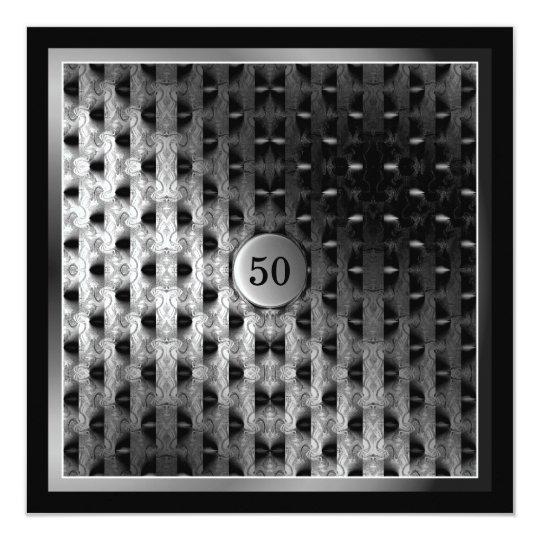 50th Birthday Black Silver Artwork Card