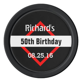 50th Birthday Black with Red Frame Geometric Z50 Set Of Poker Chips