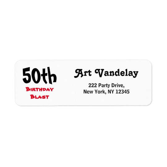 50th Birthday Blast Return Address Label