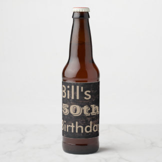 50th Birthday Brown and Black Beer Bottle Label