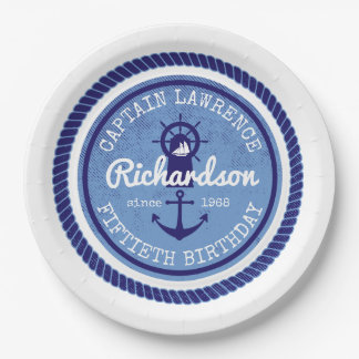 50th Birthday Captain Nautical Rope Anchor Helm 9 Inch Paper Plate