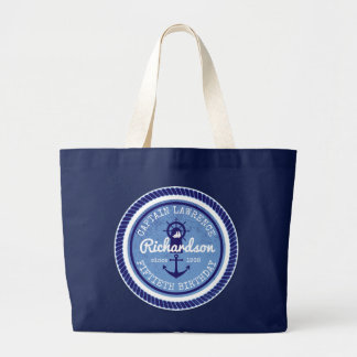 50th Birthday Captain Nautical Rope Anchor Helm Large Tote Bag