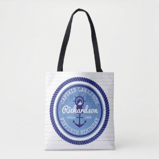 50th Birthday Captain Nautical Rope Anchor Helm Tote Bag