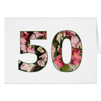 50th Birthday Card - elegant floral design