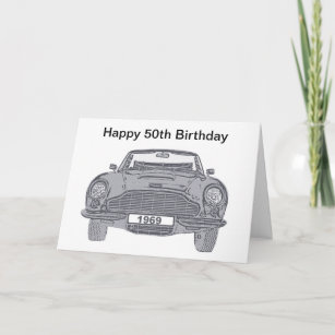 50th Birthday Card For British Classic Car Lovers