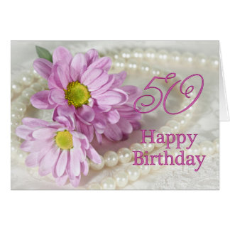 50th Birthday card with daisies