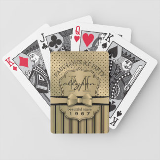 50th Birthday Champagne Gold Polka Dot Stripes Bow Bicycle Playing Cards