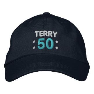 50th Birthday Custom Name NAVY BLUE H50E Embroidered Baseball Cap