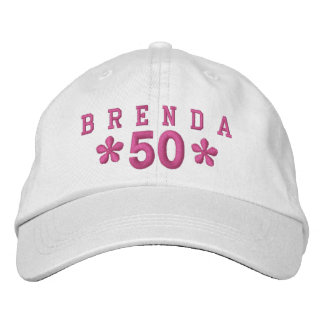 50th Birthday Custom PINK Embroidery H50C Embroidered Baseball Caps
