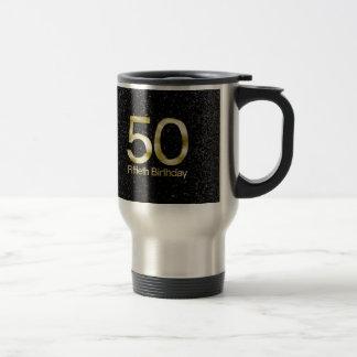 50th Birthday, Elegant Black Gold Glam Coffee Mug