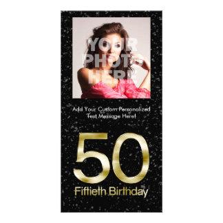 50th Birthday, Elegant Black Gold Glam Photo Card