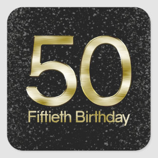 50th Birthday, Elegant Black Gold Glam Square Sticker