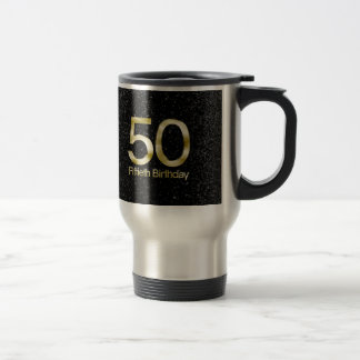 50th Birthday, Elegant Black Gold Glam Stainless Steel Travel Mug