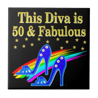 50TH BIRTHDAY FABULOUS DIVA DESIGN CERAMIC TILE